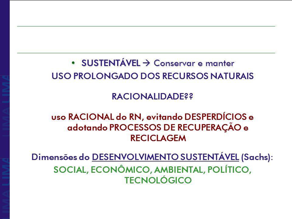 Desenvolvimento sustentável é aquele que atende as necessidades do presente sem comprometer a possibilidade das gerações futuras de atenderem às suas próprias necessidades Comissão para o Desenvolvimento e Meio Ambiente