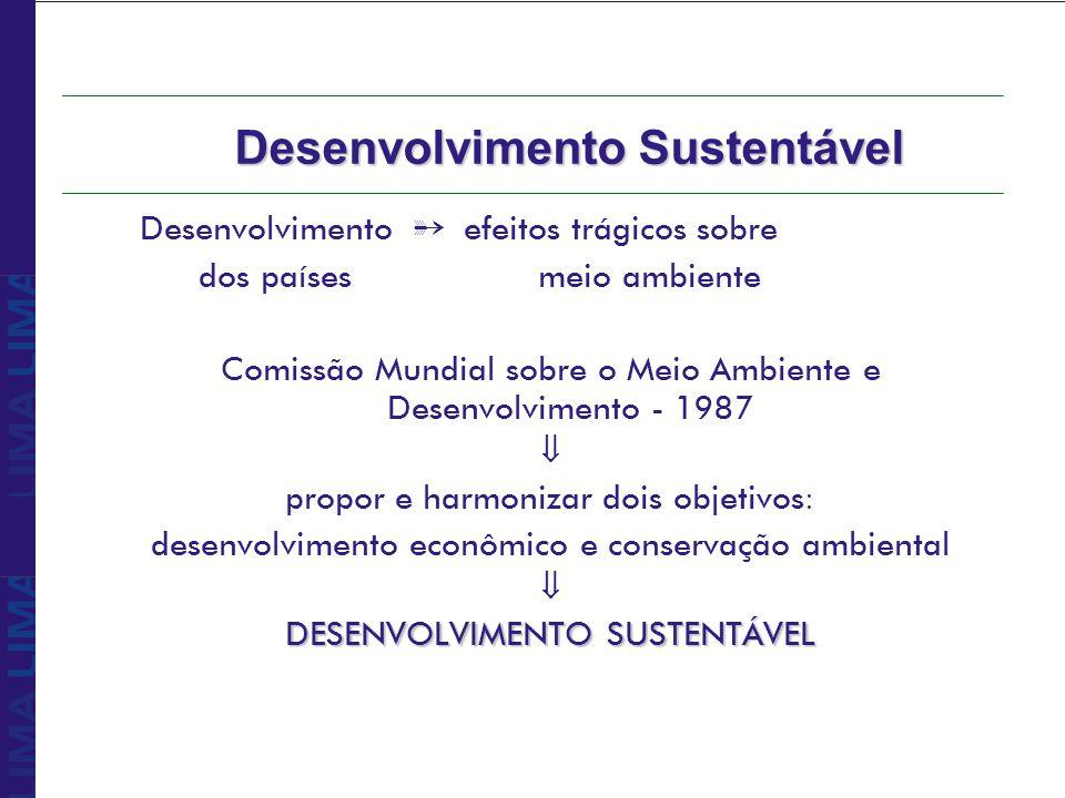 Relatório Brundtland òLimitação do crescimento populacional òGarantia de alimentação òPreservação da biodiversidade òDiminuição do consumo de energia òDesenvolvimento de tecnologia fonte de energia renováveis òAumento da produção industrial (países não industrializados) tecnologias ecologicamente adaptadas òNecessidades básicas satisfeitas òConceito de equidade