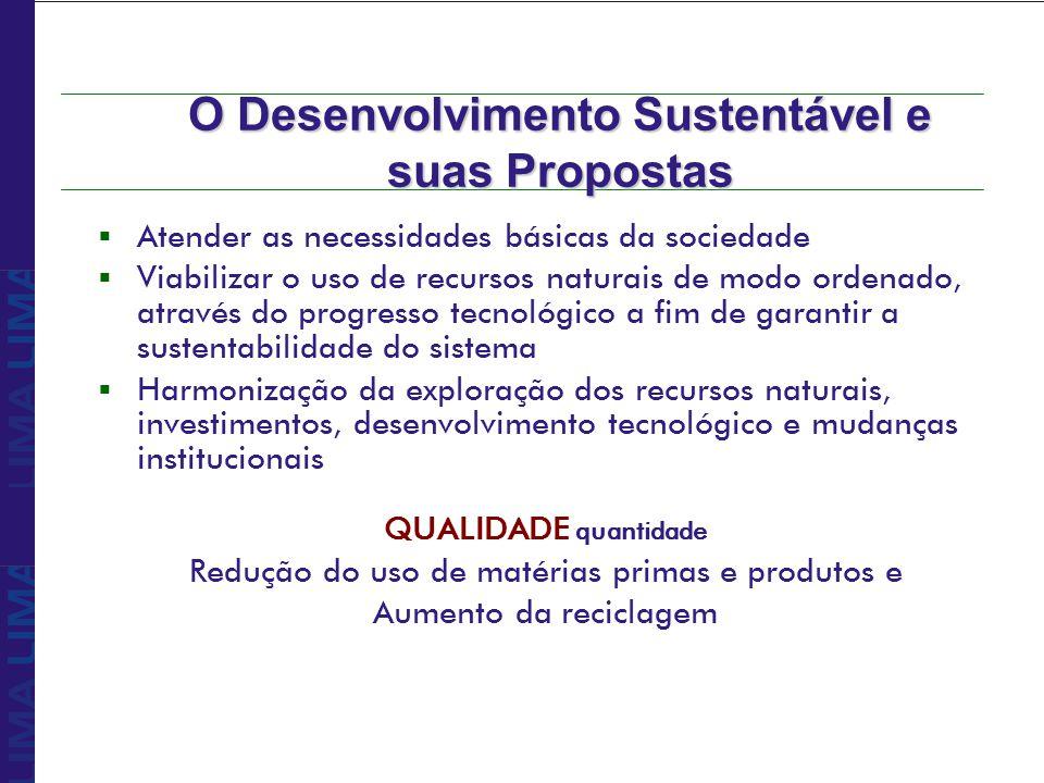 O Desenvolvimento Sustentável e suas Propostas Atender as necessidades básicas da sociedade Viabilizar o uso de recursos naturais de modo ordenado, at