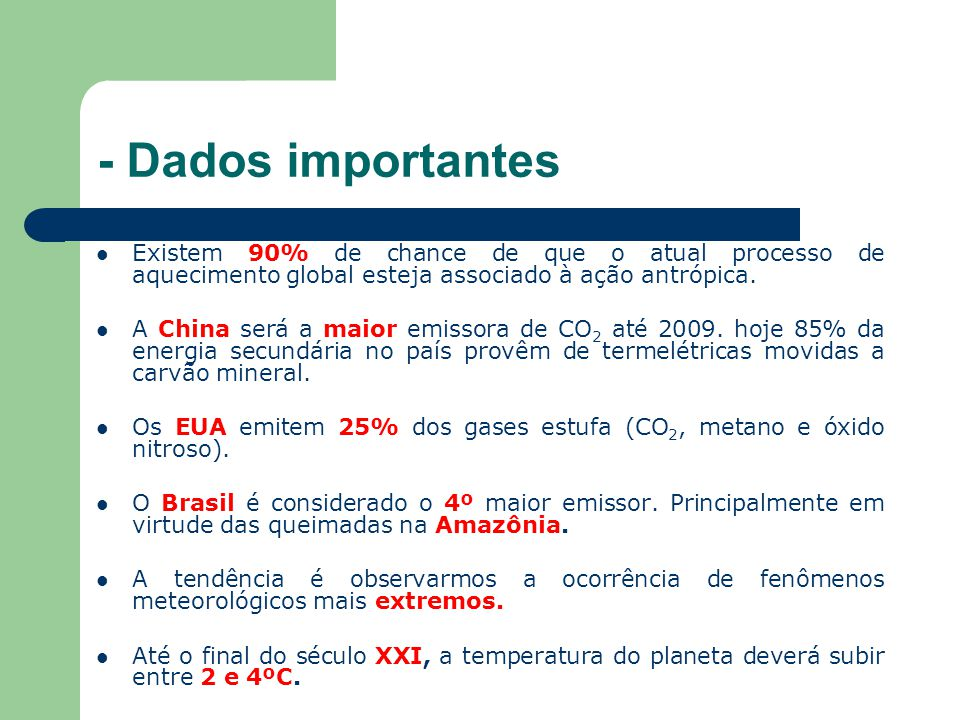 - Dados importantes Existem 90% de chance de que o atual processo de aquecimento global esteja associado à ação antrópica. A China será a maior emisso