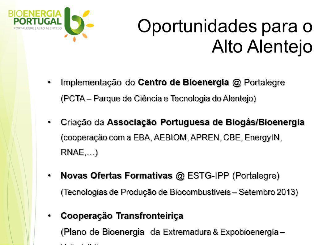 Oportunidades para o Alto Alentejo Implementação do Centro de Bioenergia @ PortalegreImplementação do Centro de Bioenergia @ Portalegre (PCTA – Parque de Ciência e Tecnologia do Alentejo) Criação da Associação Portuguesa de Biogás/BioenergiaCriação da Associação Portuguesa de Biogás/Bioenergia (cooperação com a EBA, AEBIOM, APREN, CBE, EnergyIN, RNAE,…) Novas Ofertas Formativas @ ESTG-IPP (Portalegre)Novas Ofertas Formativas @ ESTG-IPP (Portalegre) (Tecnologias de Produção de Biocombustíveis – Setembro 2013) Cooperação TransfronteiriçaCooperação Transfronteiriça (Plano de Bioenergia da Extremadura & Expobioenergía – Valladolid)