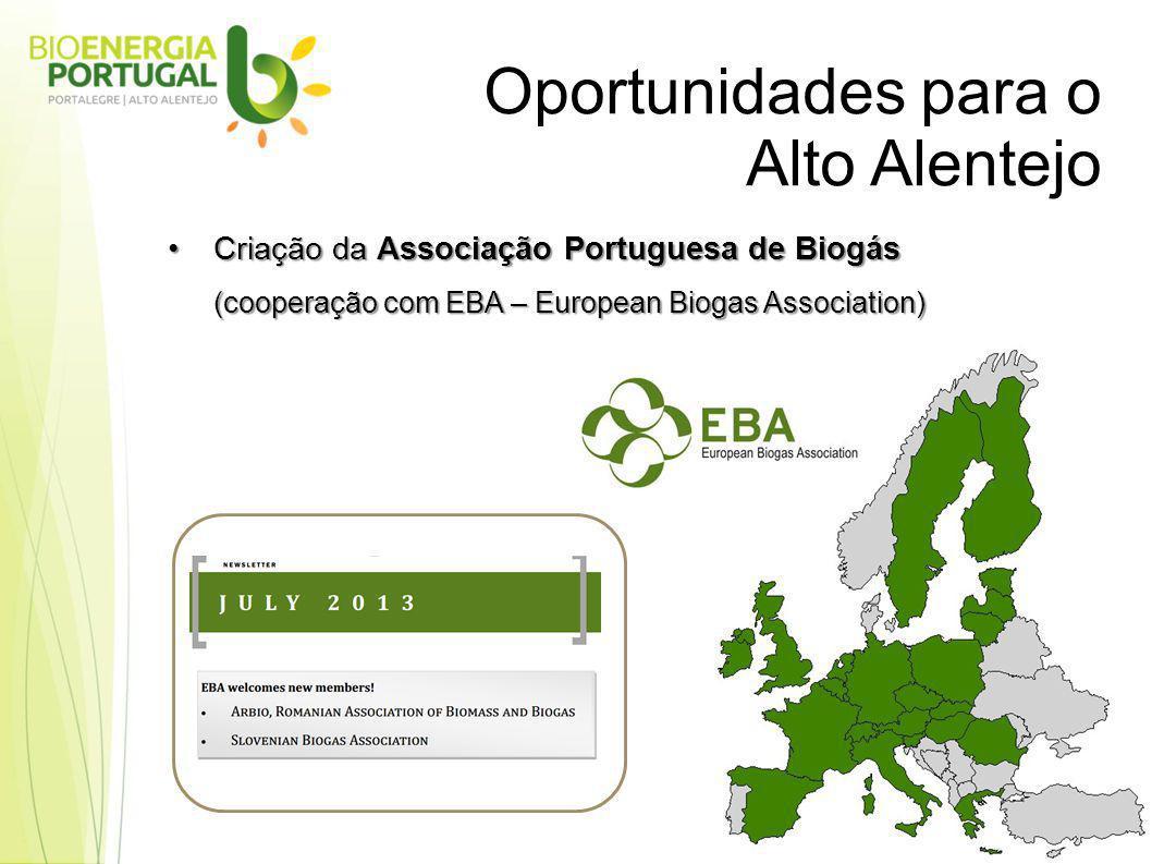 Oportunidades para o Alto Alentejo Criação da Associação Portuguesa de BiogásCriação da Associação Portuguesa de Biogás (cooperação com EBA – European Biogas Association)