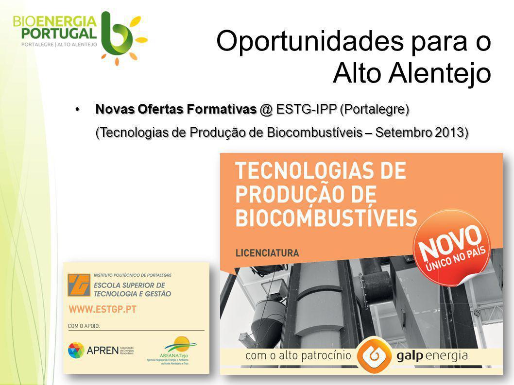 Oportunidades para o Alto Alentejo Novas Ofertas Formativas @ ESTG-IPP (Portalegre)Novas Ofertas Formativas @ ESTG-IPP (Portalegre) (Tecnologias de Produção de Biocombustíveis – Setembro 2013)