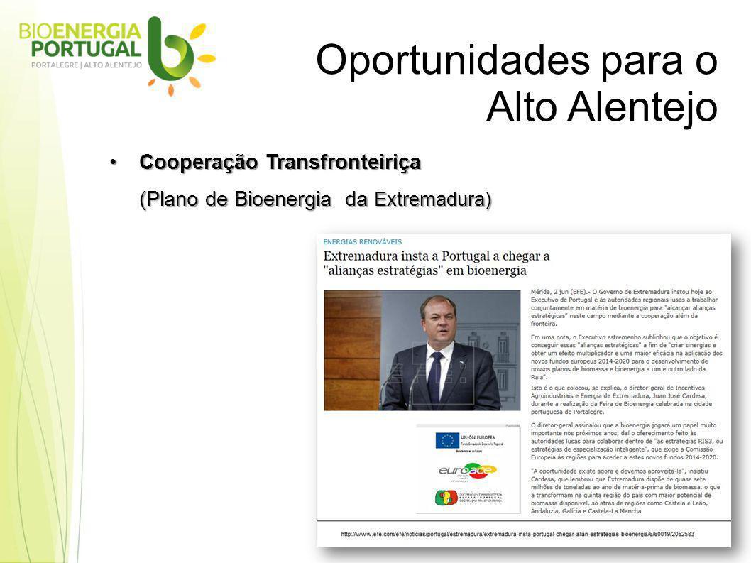 Oportunidades para o Alto Alentejo Cooperação TransfronteiriçaCooperação Transfronteiriça (Plano de Bioenergia da Extremadura)