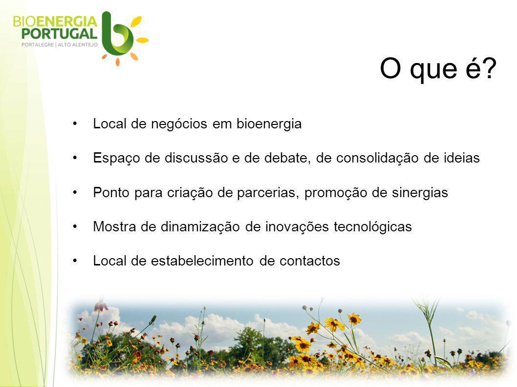 Local de negócios em bioenergia Espaço de discussão e de debate, de consolidação de ideias Ponto para criação de parcerias, promoção de sinergias Mostra de dinamização de inovações tecnológicas Local de estabelecimento de contactos O que é