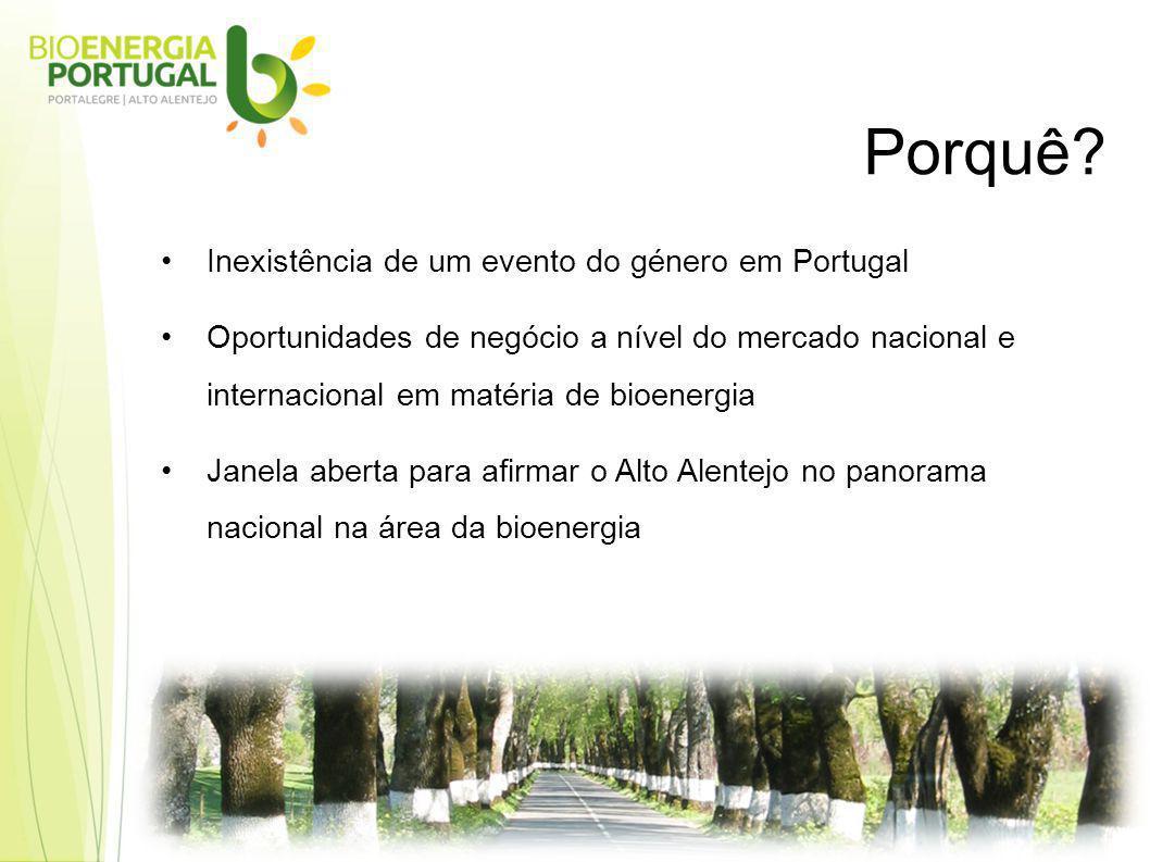 Inexistência de um evento do género em Portugal Oportunidades de negócio a nível do mercado nacional e internacional em matéria de bioenergia Janela aberta para afirmar o Alto Alentejo no panorama nacional na área da bioenergia Porquê?