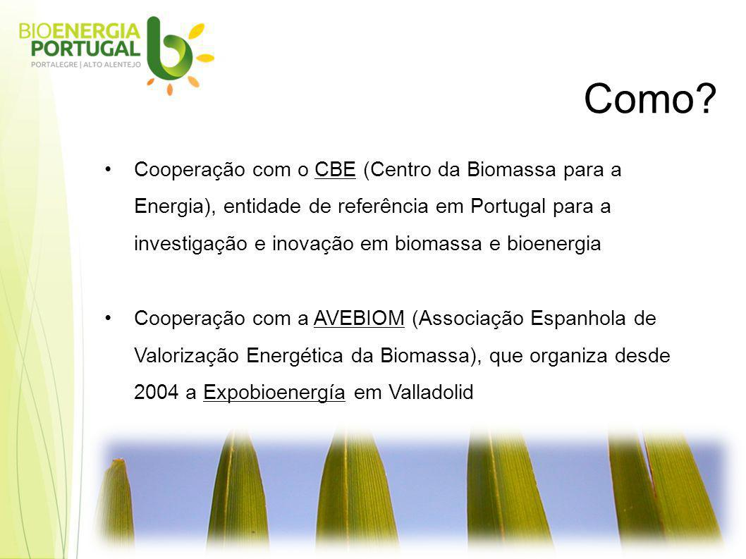 Cooperação com o CBE (Centro da Biomassa para a Energia), entidade de referência em Portugal para a investigação e inovação em biomassa e bioenergia Cooperação com a AVEBIOM (Associação Espanhola de Valorização Energética da Biomassa), que organiza desde 2004 a Expobioenergía em Valladolid Como?