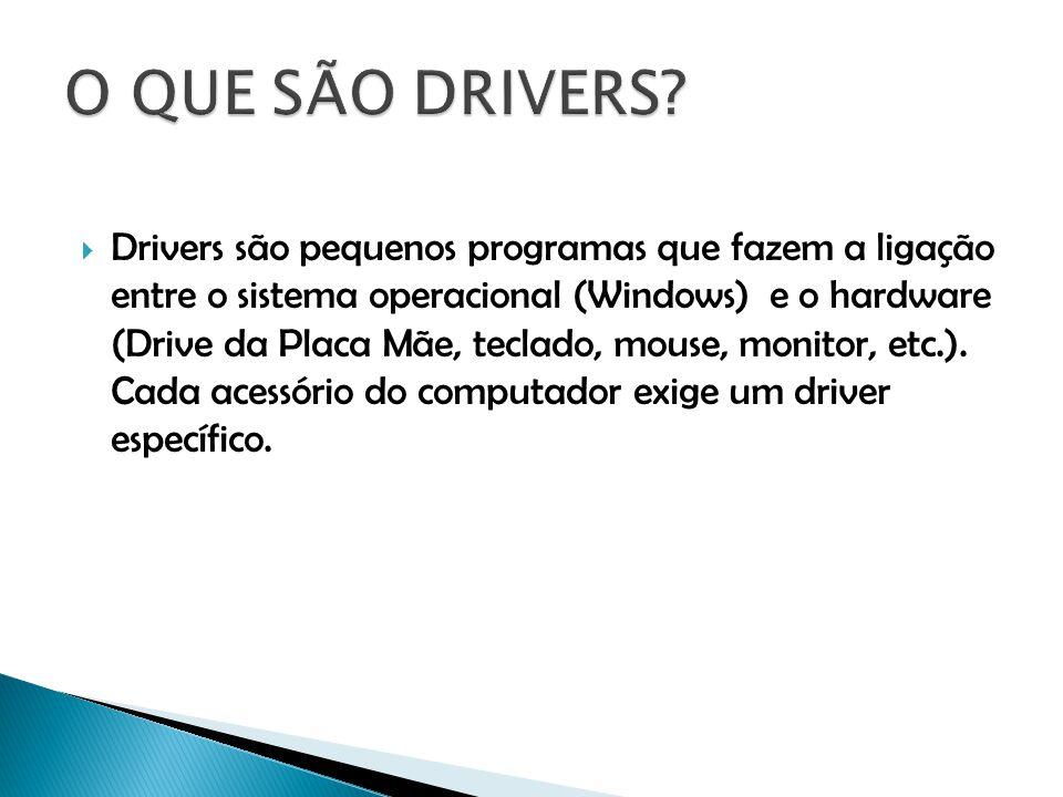 Drivers são pequenos programas que fazem a ligação entre o sistema operacional (Windows) e o hardware (Drive da Placa Mãe, teclado, mouse, monitor, et