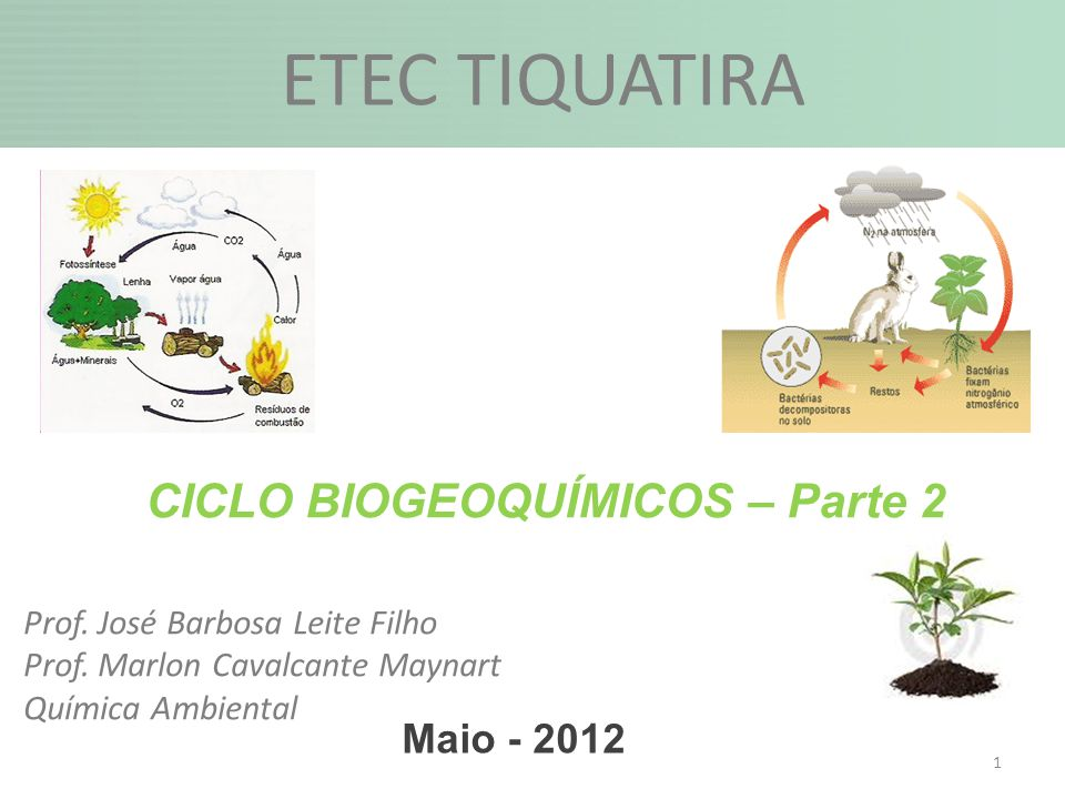 1 Maio - 2012 CICLO BIOGEOQUÍMICOS – Parte 2 ETEC TIQUATIRA Prof. José Barbosa Leite Filho Prof. Marlon Cavalcante Maynart Química Ambiental