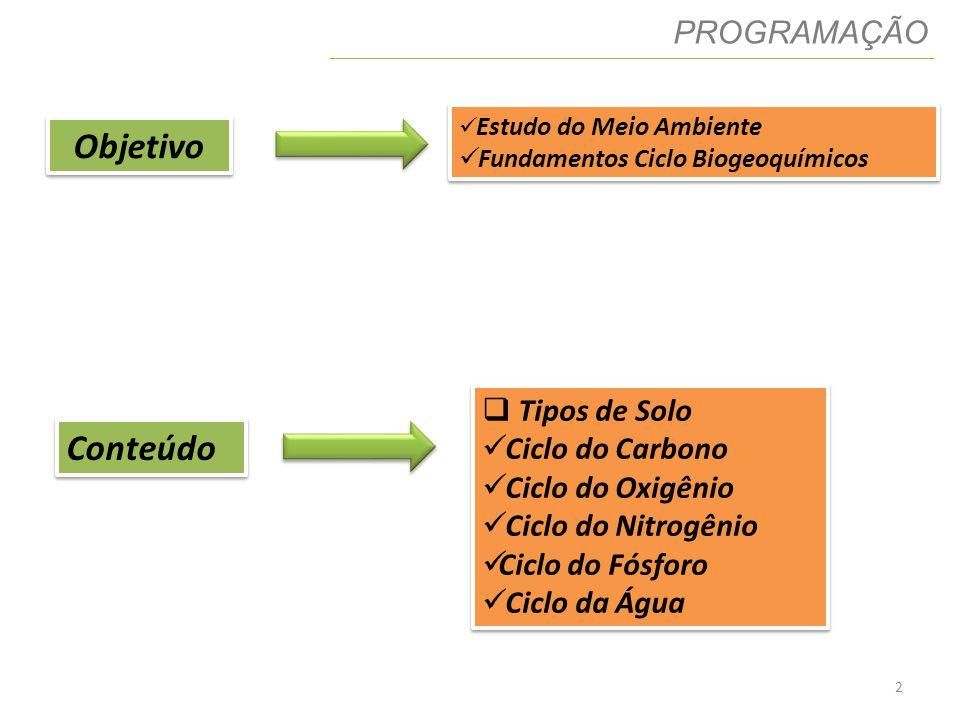 2 PROGRAMAÇÃO Objetivo Estudo do Meio Ambiente Fundamentos Ciclo Biogeoquímicos Estudo do Meio Ambiente Fundamentos Ciclo Biogeoquímicos Conteúdo Tipo