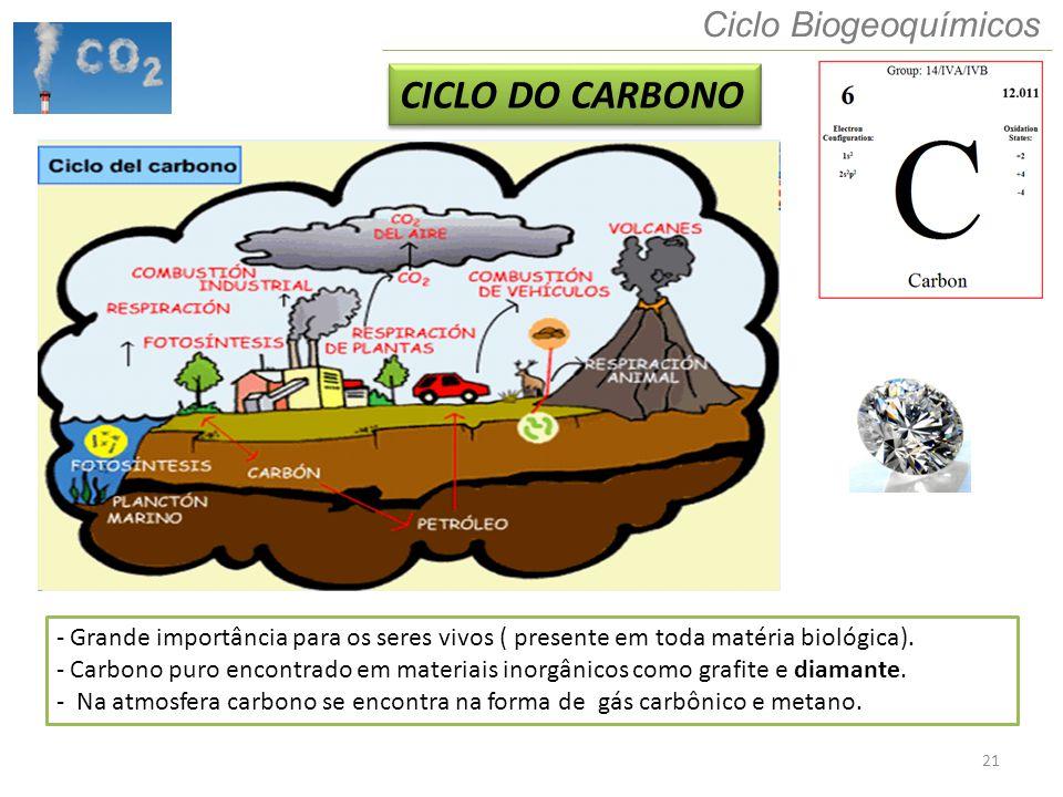 21 Ciclo Biogeoquímicos CICLO DO CARBONO - Grande importância para os seres vivos ( presente em toda matéria biológica). - Carbono puro encontrado em