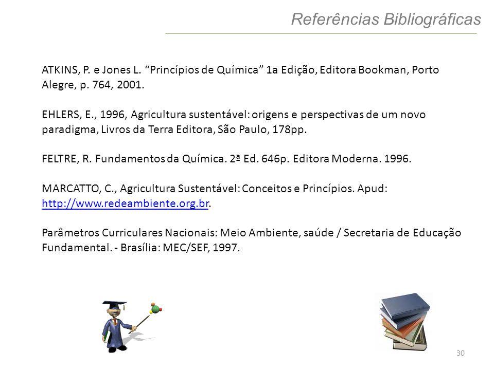 30 Referências Bibliográficas ATKINS, P. e Jones L. Princípios de Química 1a Edição, Editora Bookman, Porto Alegre, p. 764, 2001. EHLERS, E., 1996, Ag