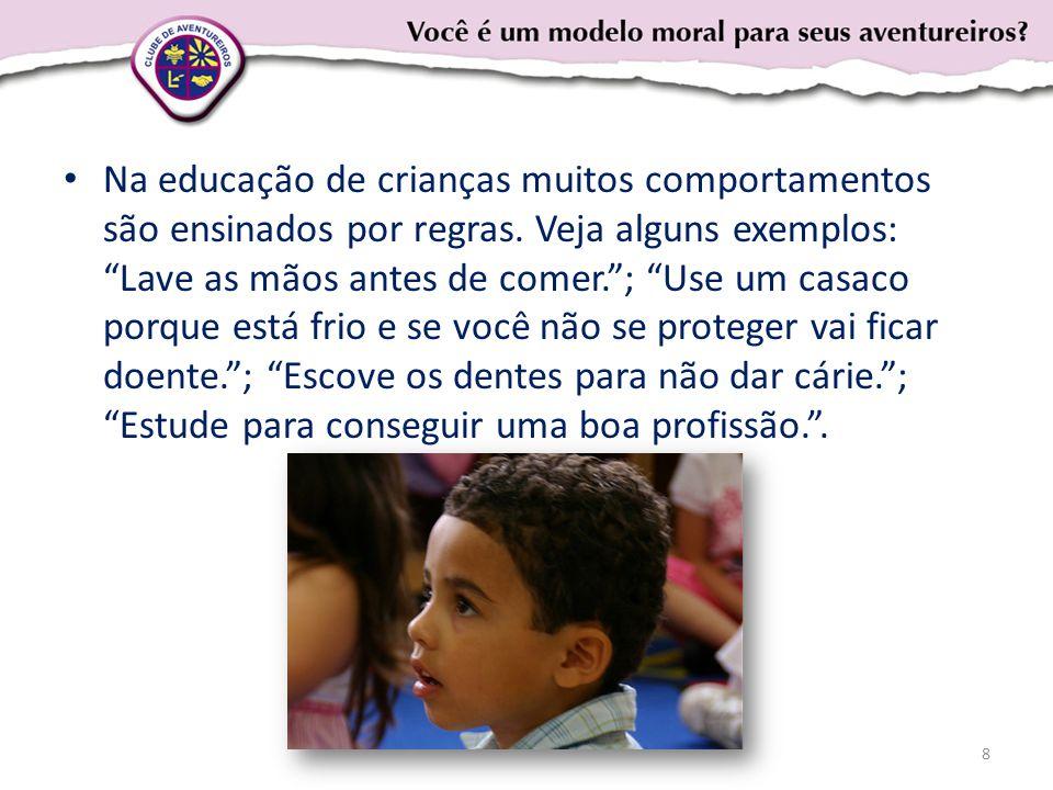 Na educação de crianças muitos comportamentos são ensinados por regras.