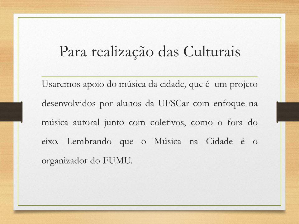 Para realização das Culturais Usaremos apoio do música da cidade, que é um projeto desenvolvidos por alunos da UFSCar com enfoque na música autoral ju