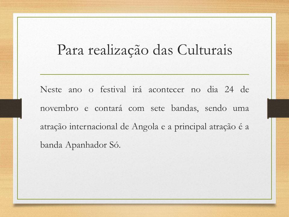 Para realização das Culturais Neste ano o festival irá acontecer no dia 24 de novembro e contará com sete bandas, sendo uma atração internacional de A