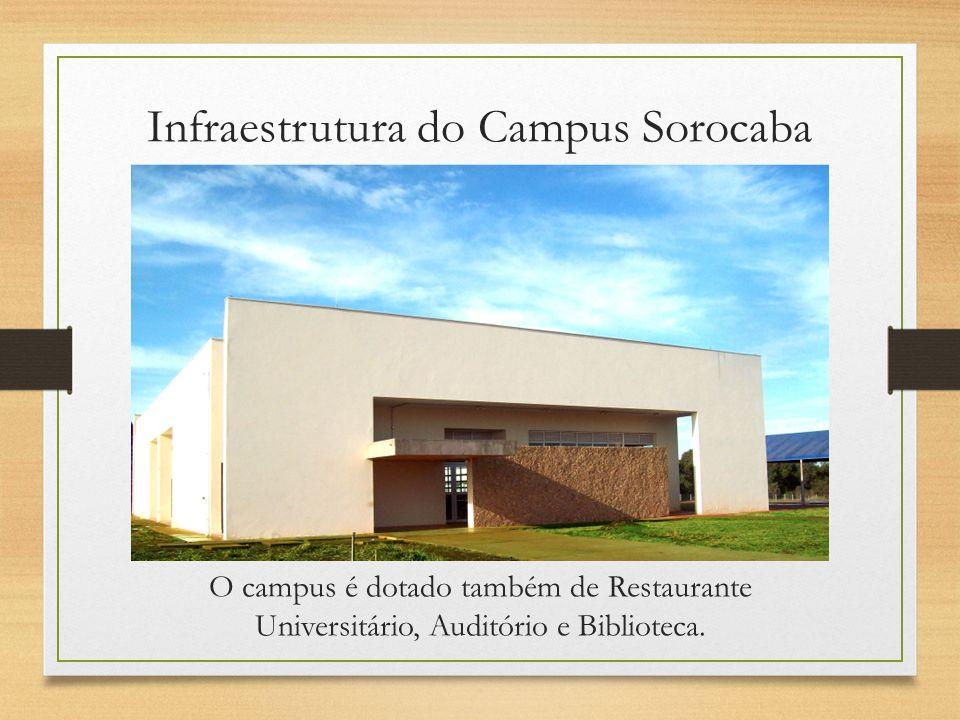 O campus é dotado também de Restaurante Universitário, Auditório e Biblioteca. Infraestrutura do Campus Sorocaba