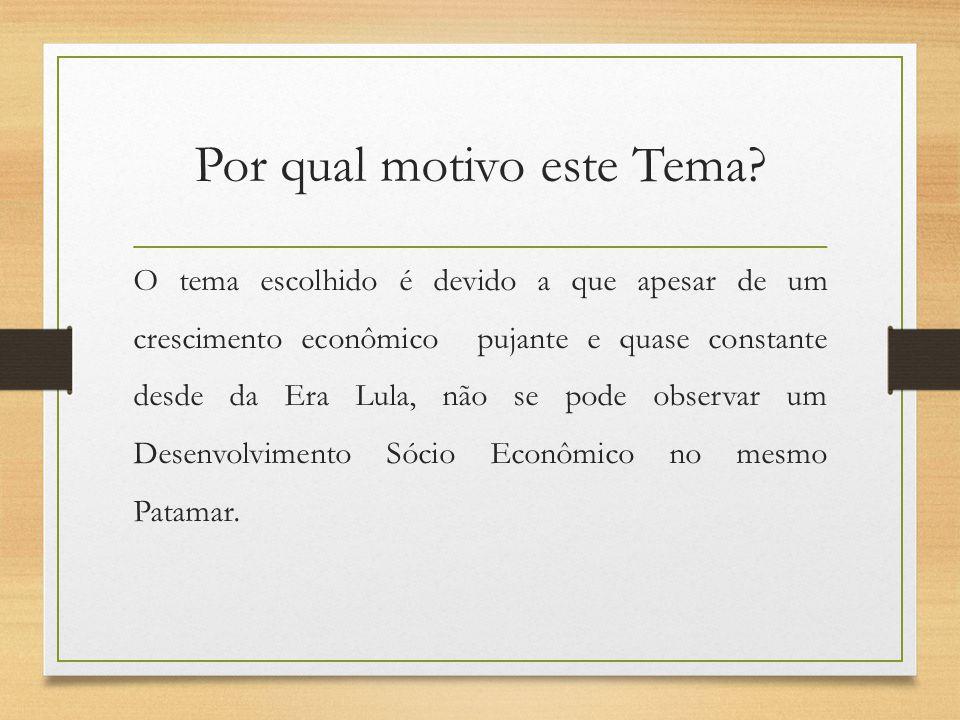 Por qual motivo este Tema? O tema escolhido é devido a que apesar de um crescimento econômico pujante e quase constante desde da Era Lula, não se pode