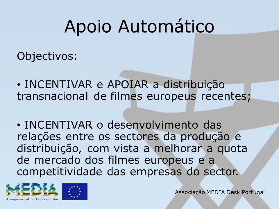 Apoio Automático Objectivos: INCENTIVAR e APOIAR a distribuição transnacional de filmes europeus recentes; INCENTIVAR o desenvolvimento das relações entre os sectores da produção e distribuição, com vista a melhorar a quota de mercado dos filmes europeus e a competitividade das empresas do sector.
