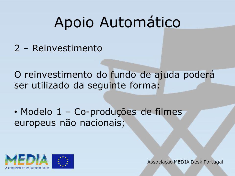 Apoio Automático 2 – Reinvestimento O reinvestimento do fundo de ajuda poderá ser utilizado da seguinte forma: Modelo 1 – Co-produções de filmes europeus não nacionais; Associação MEDIA Desk Portugal
