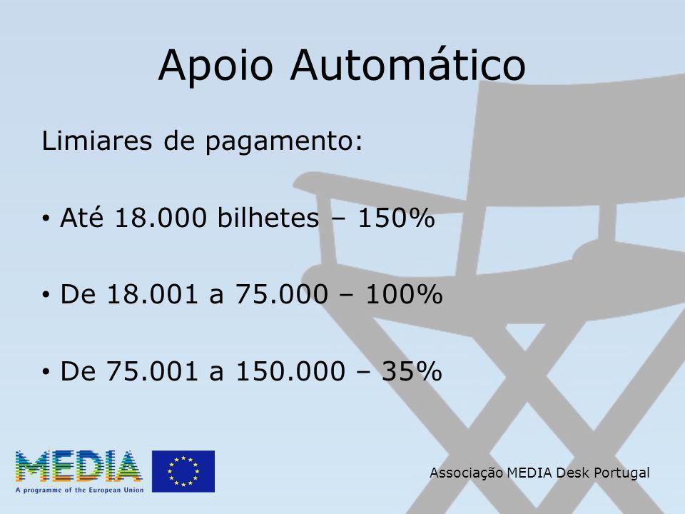 Apoio Automático Limiares de pagamento: Até 18.000 bilhetes – 150% De 18.001 a 75.000 – 100% De 75.001 a 150.000 – 35% Associação MEDIA Desk Portugal
