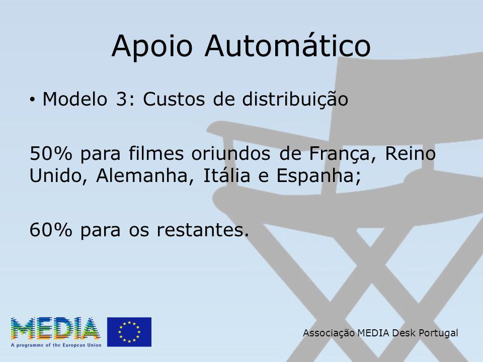 Apoio Automático Modelo 3: Custos de distribuição 50% para filmes oriundos de França, Reino Unido, Alemanha, Itália e Espanha; 60% para os restantes.