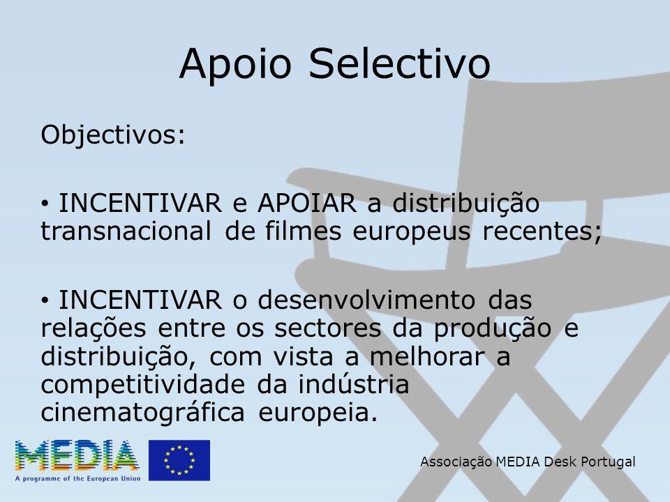 Apoio Selectivo Objectivos: INCENTIVAR e APOIAR a distribuição transnacional de filmes europeus recentes; INCENTIVAR o desenvolvimento das relações entre os sectores da produção e distribuição, com vista a melhorar a competitividade da indústria cinematográfica europeia.
