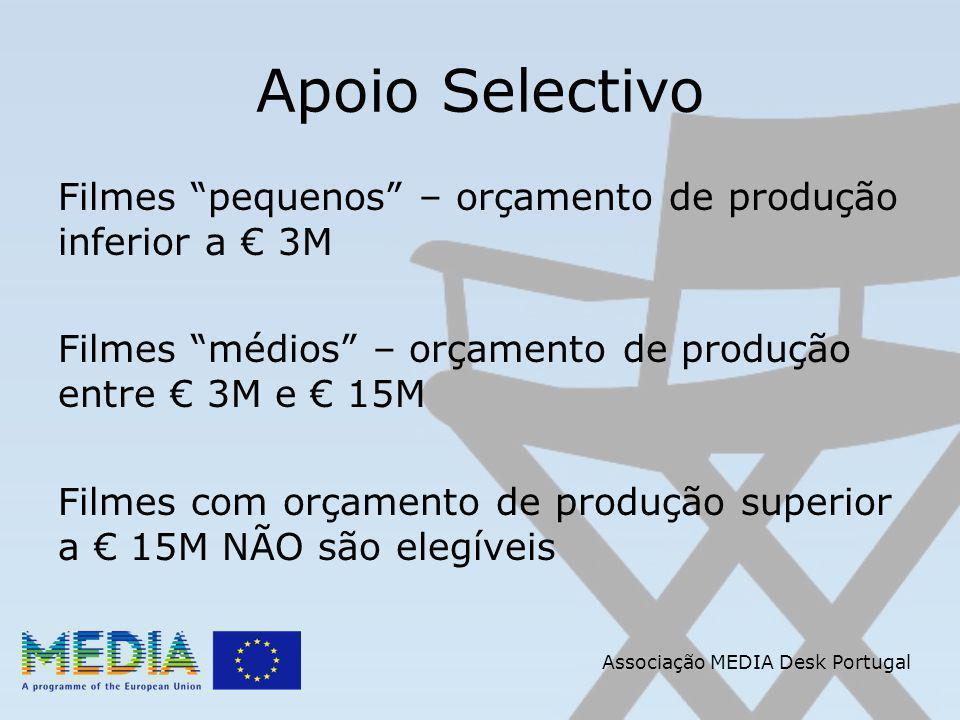 Apoio Selectivo Filmes pequenos – orçamento de produção inferior a 3M Filmes médios – orçamento de produção entre 3M e 15M Filmes com orçamento de produção superior a 15M NÃO são elegíveis Associação MEDIA Desk Portugal