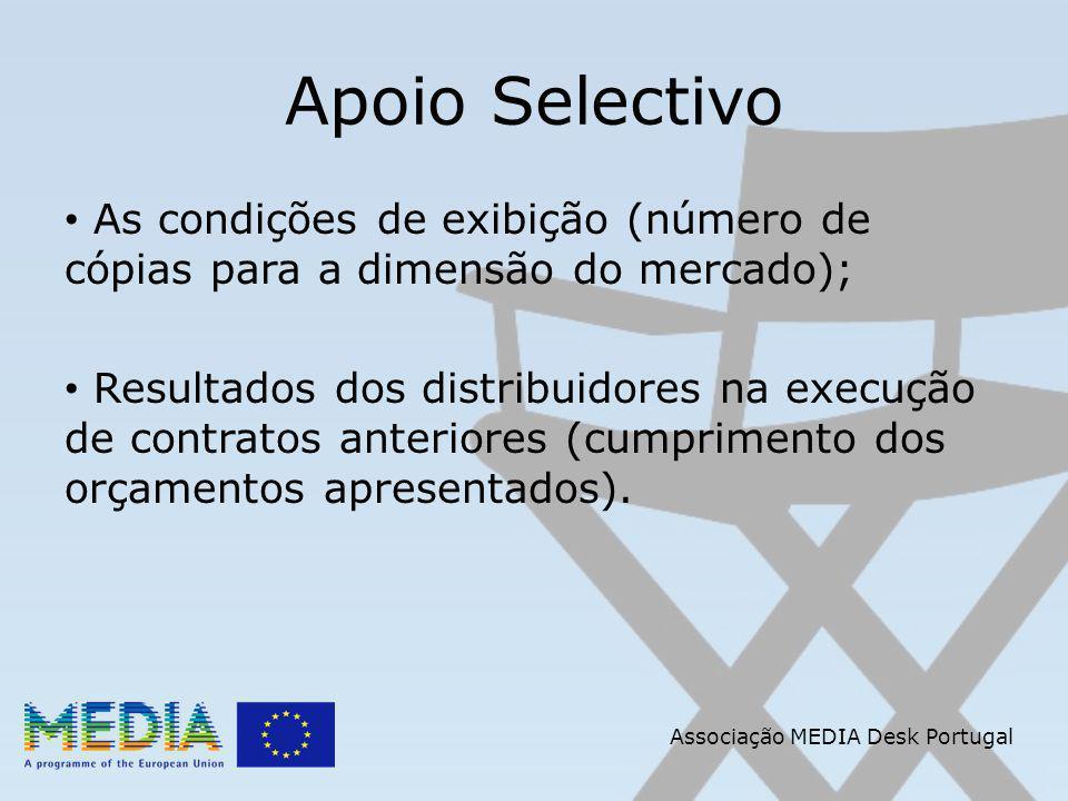Apoio Selectivo As condições de exibição (número de cópias para a dimensão do mercado); Resultados dos distribuidores na execução de contratos anteriores (cumprimento dos orçamentos apresentados).