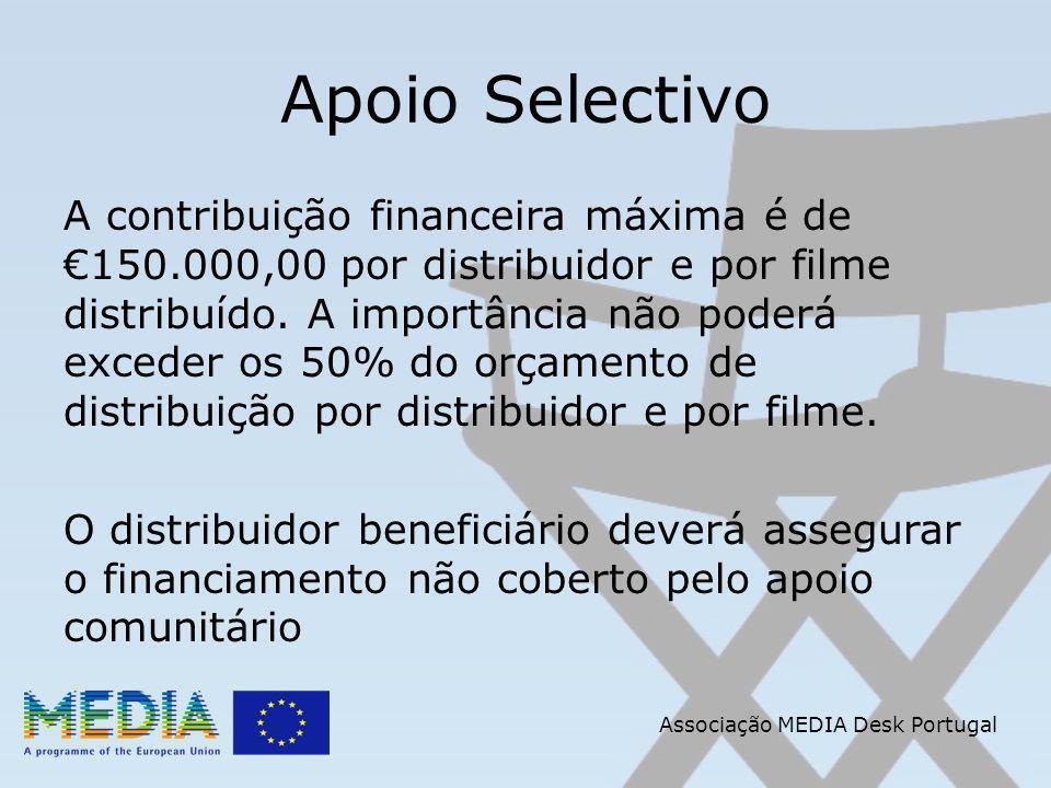 Apoio Selectivo A contribuição financeira máxima é de 150.000,00 por distribuidor e por filme distribuído.
