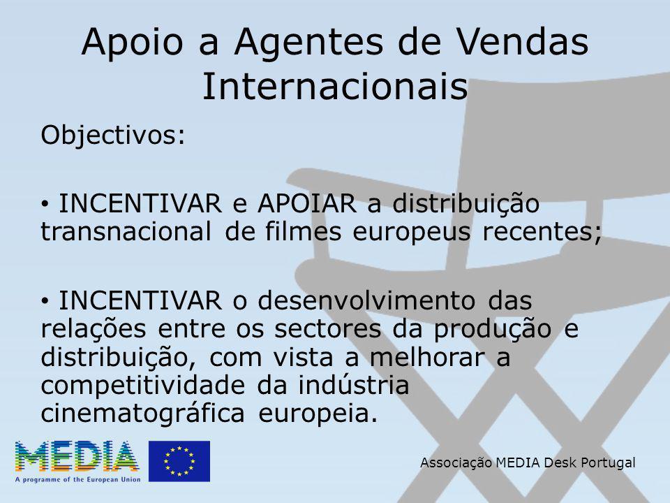 Apoio a Agentes de Vendas Internacionais Objectivos: INCENTIVAR e APOIAR a distribuição transnacional de filmes europeus recentes; INCENTIVAR o desenvolvimento das relações entre os sectores da produção e distribuição, com vista a melhorar a competitividade da indústria cinematográfica europeia.