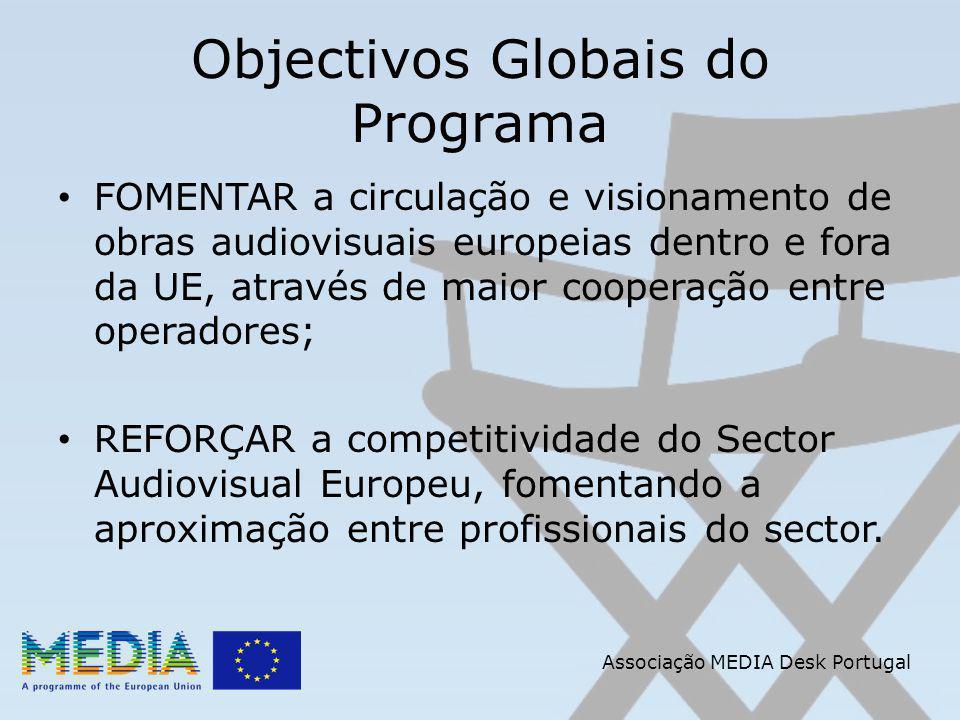 Objectivos Globais do Programa FOMENTAR a circulação e visionamento de obras audiovisuais europeias dentro e fora da UE, através de maior cooperação entre operadores; REFORÇAR a competitividade do Sector Audiovisual Europeu, fomentando a aproximação entre profissionais do sector.