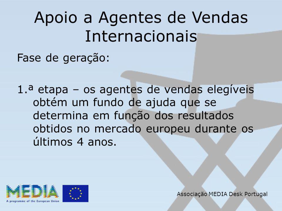 Apoio a Agentes de Vendas Internacionais Fase de geração: 1.ª etapa – os agentes de vendas elegíveis obtém um fundo de ajuda que se determina em função dos resultados obtidos no mercado europeu durante os últimos 4 anos.