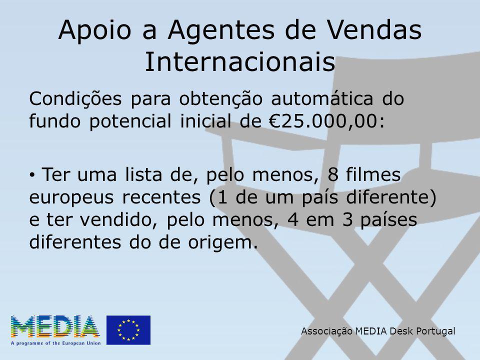 Apoio a Agentes de Vendas Internacionais Condições para obtenção automática do fundo potencial inicial de 25.000,00: Ter uma lista de, pelo menos, 8 filmes europeus recentes (1 de um país diferente) e ter vendido, pelo menos, 4 em 3 países diferentes do de origem.