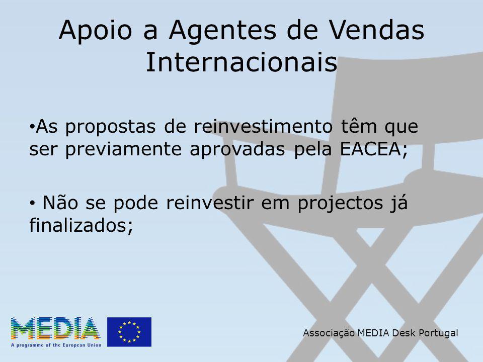 Apoio a Agentes de Vendas Internacionais As propostas de reinvestimento têm que ser previamente aprovadas pela EACEA; Não se pode reinvestir em projectos já finalizados; Associação MEDIA Desk Portugal