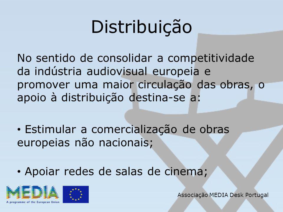 Distribuição No sentido de consolidar a competitividade da indústria audiovisual europeia e promover uma maior circulação das obras, o apoio à distribuição destina-se a: Estimular a comercialização de obras europeias não nacionais; Apoiar redes de salas de cinema; Associação MEDIA Desk Portugal