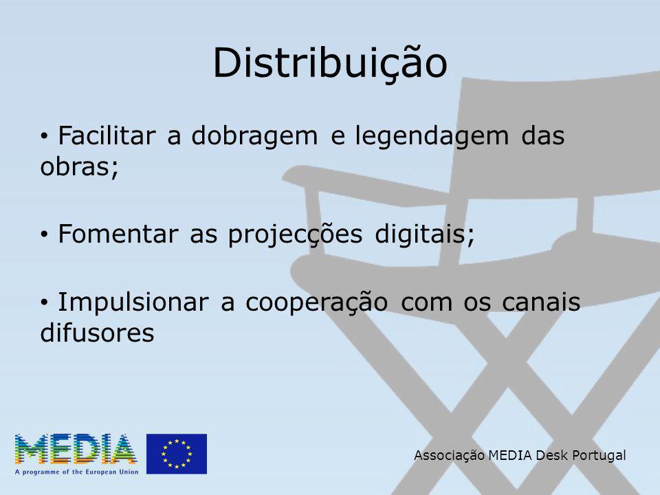 Distribuição Facilitar a dobragem e legendagem das obras; Fomentar as projecções digitais; Impulsionar a cooperação com os canais difusores Associação MEDIA Desk Portugal