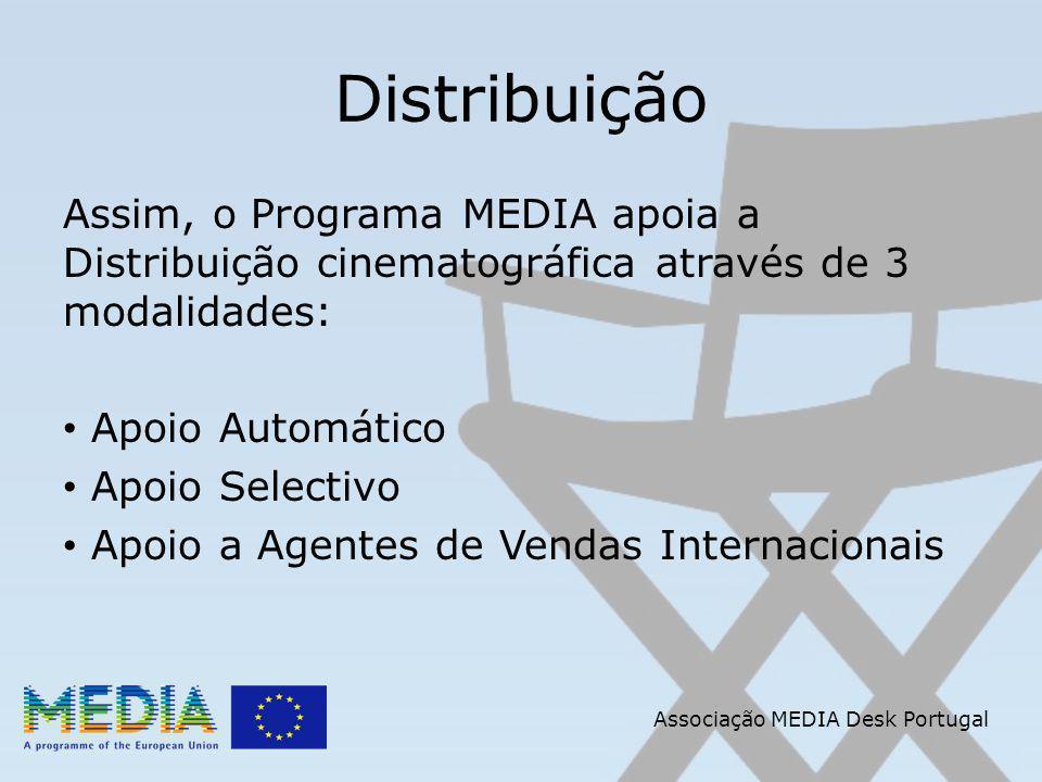 Apoio a Agentes de Vendas Internacionais Filmes elegíveis: Obra de ficção (inclui animação) ou documentário com mais de 60 minutos de duração que cumpra com as seguintes condições: Associação MEDIA Desk Portugal