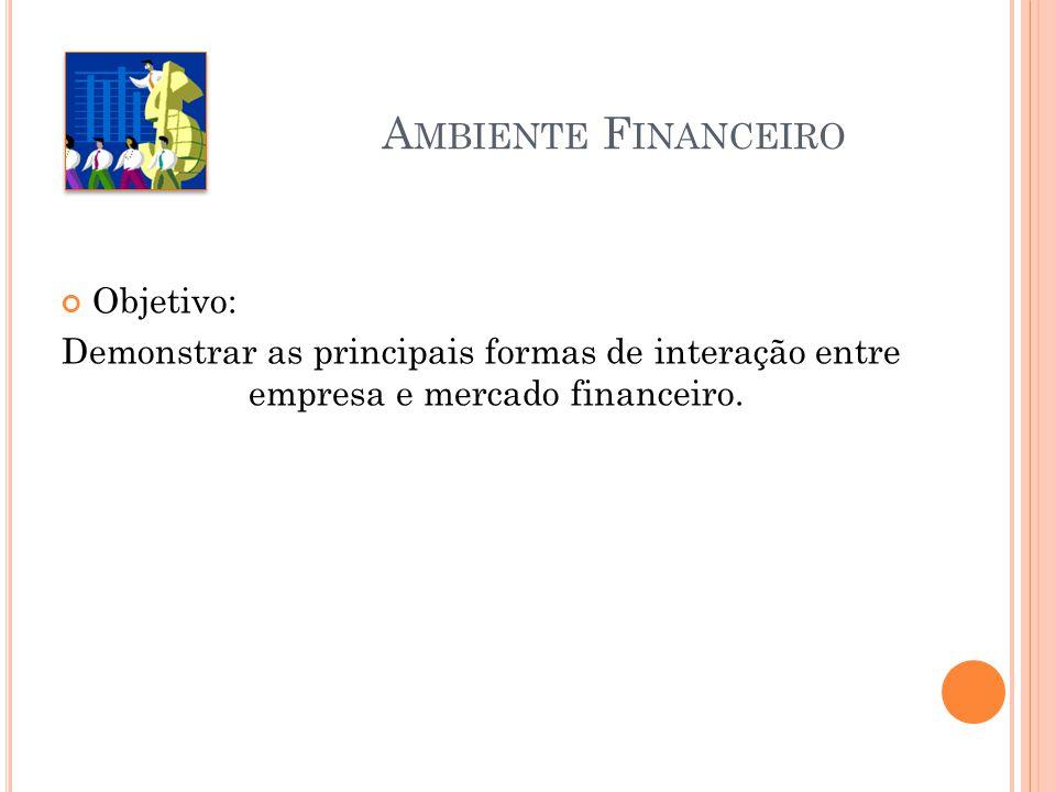 A MBIENTE F INANCEIRO Objetivo: Demonstrar as principais formas de interação entre empresa e mercado financeiro.