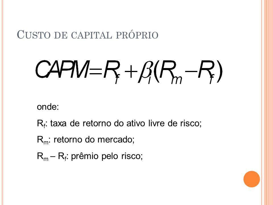 C USTO DE CAPITAL PRÓPRIO onde: R f : taxa de retorno do ativo livre de risco; R m : retorno do mercado; R m – R f : prêmio pelo risco;