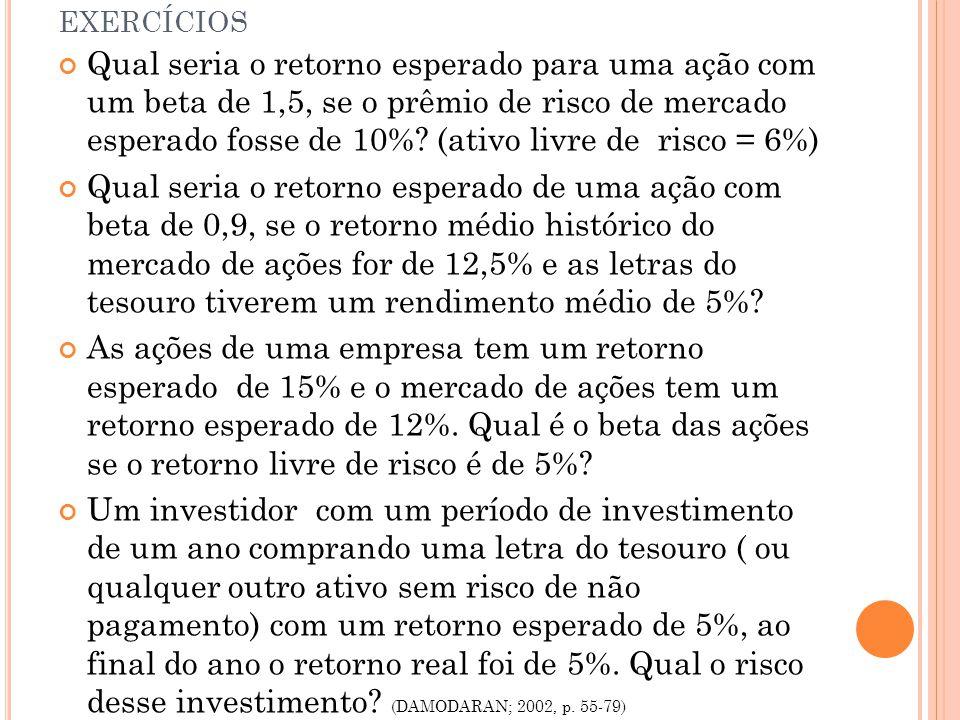 EXERCÍCIOS Qual seria o retorno esperado para uma ação com um beta de 1,5, se o prêmio de risco de mercado esperado fosse de 10%.