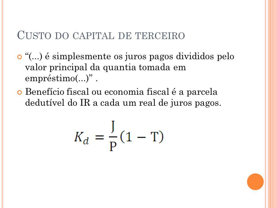 C USTO DO CAPITAL DE TERCEIRO (...) é simplesmente os juros pagos divididos pelo valor principal da quantia tomada em empréstimo(...).
