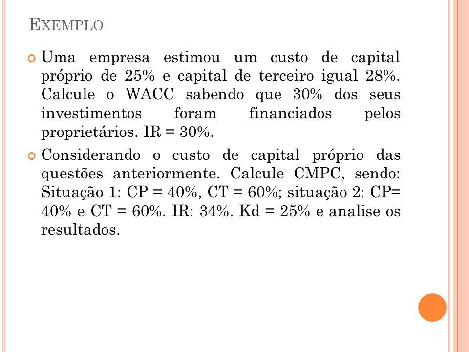 E XEMPLO Uma empresa estimou um custo de capital próprio de 25% e capital de terceiro igual 28%.
