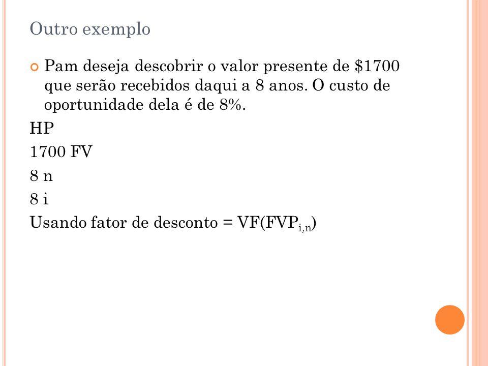 Outro exemplo Pam deseja descobrir o valor presente de $1700 que serão recebidos daqui a 8 anos.