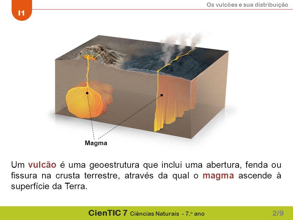 Os vulcões e sua distribuição I1 CienTIC 7 Ciências Naturais - 7. o ano 2/9 Um vulcão é uma geoestrutura que inclui uma abertura, fenda ou fissura na