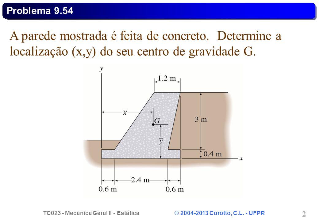 TC023 - Mecânica Geral II - Estática © 2004-2013 Curotto, C.L. - UFPR 2 A parede mostrada é feita de concreto. Determine a localização (x,y) do seu ce