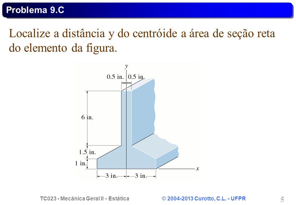 TC023 - Mecânica Geral II - Estática © 2004-2013 Curotto, C.L. - UFPR 5 Localize a distância y do centróide a área de seção reta do elemento da figura