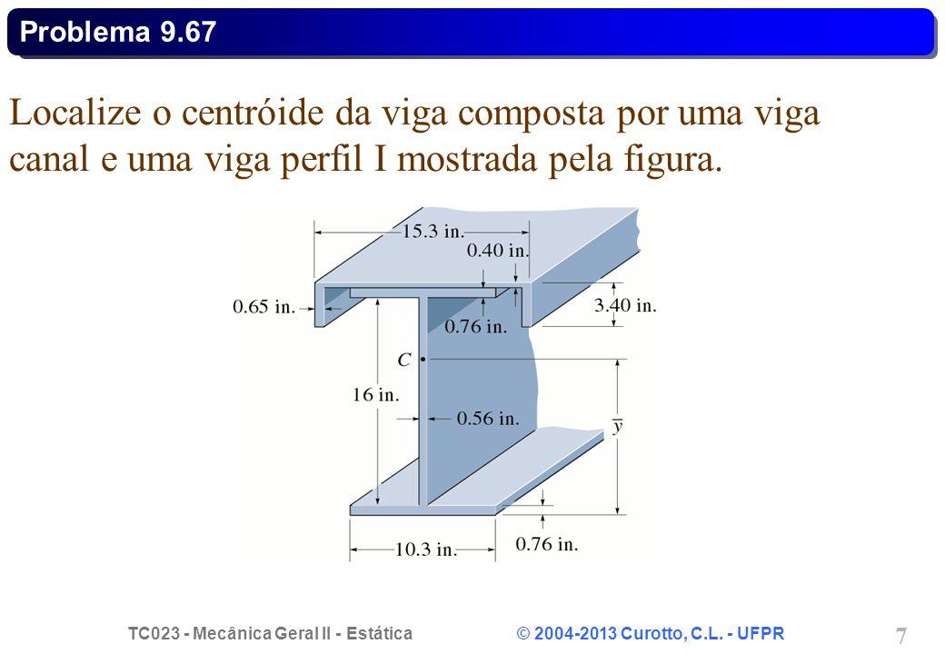 TC023 - Mecânica Geral II - Estática © 2004-2013 Curotto, C.L. - UFPR 7 Localize o centróide da viga composta por uma viga canal e uma viga perfil I m