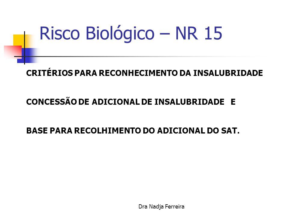 Dra Nadja Ferreira ENQUADRAMENTO A PARTIR DE 01/01/2004 Com apresentação de laudo técnico.
