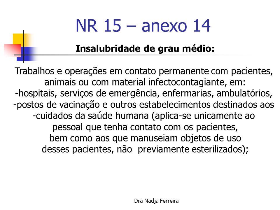 NR 15 - ANEXO Nº 14 AGENTES BIOLÓGICOS Relação das atividades que envolvem agentes biológicos, cuja insalubridade é caracterizada pela avaliação qualitativa.