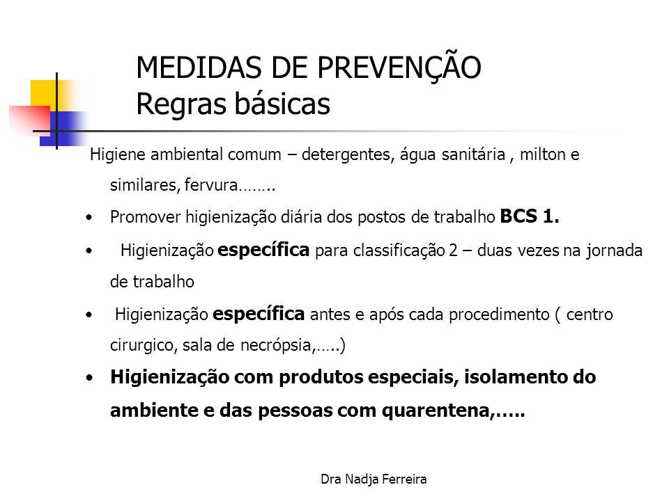 Dra Nadja Ferreira 1.Manter LAVAGEM DE MÃOS após e antes cada procedimento 2.Realizar troca de roupas diariamente com higienização em seguência de fervimento, cloramento e lavagem dupla; 3.Manter vacinação específica e obedecer a dieta específica.